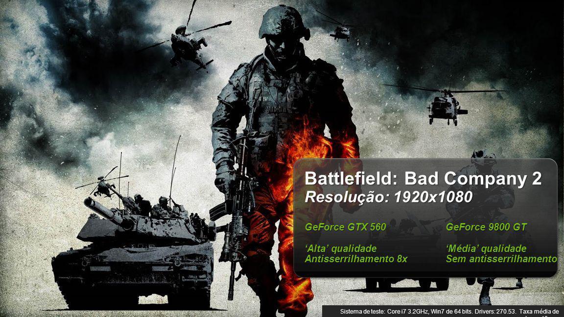 © NVIDIA Confidential – Não distribuir 9 Battlefield: Bad Company 2 Resolução: 1920x1080 GeForce GTX 560 GeForce 9800 GT Alta qualidadeMédia qualidade Antisserrilhamento 8xSem antisserrilhamento Sistema de teste: Core i7 3.2GHz, Win7 de 64 bits.