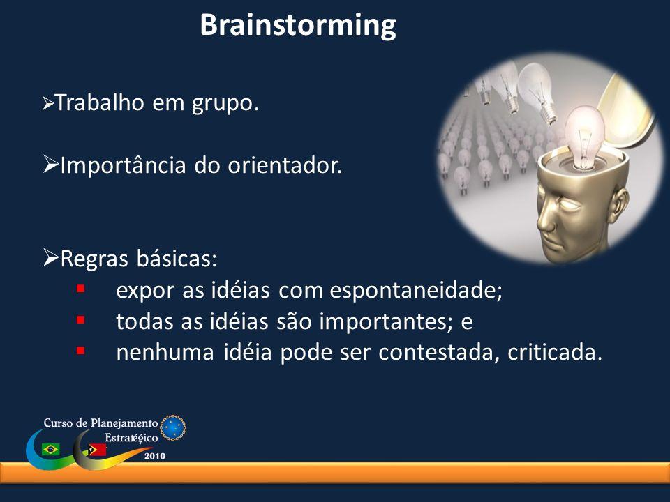 Brainstorming Trabalho em grupo. Importância do orientador. Regras básicas: expor as idéias com espontaneidade; todas as idéias são importantes; e nen