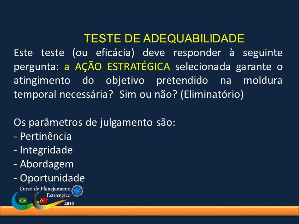 TESTE DE ADEQUABILIDADE Este teste (ou eficácia) deve responder à seguinte pergunta: a AÇÃO ESTRATÉGICA selecionada garante o atingimento do objetivo
