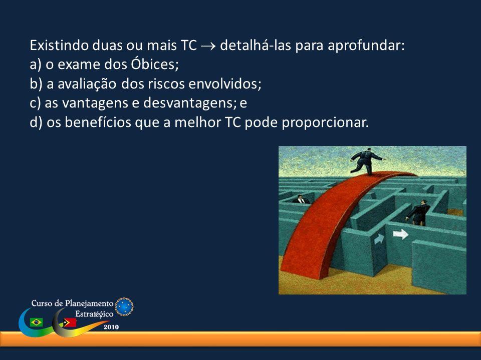 Existindo duas ou mais TC detalhá-las para aprofundar: a) o exame dos Óbices; b) a avaliação dos riscos envolvidos; c) as vantagens e desvantagens; e