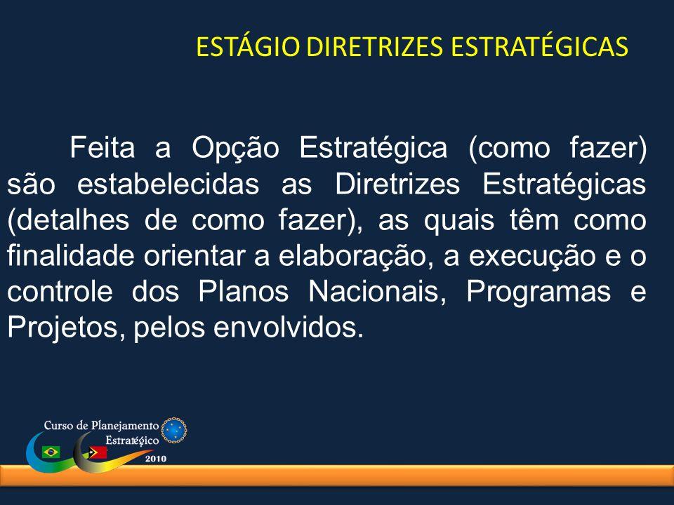 Feita a Opção Estratégica (como fazer) são estabelecidas as Diretrizes Estratégicas (detalhes de como fazer), as quais têm como finalidade orientar a