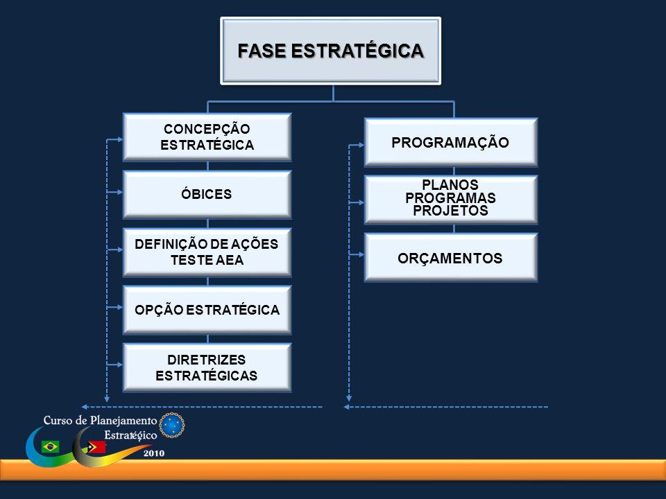 CONCEPÇÃO ESTRATÉGICA ÓBICES DEFINIÇÃO DE AÇÕES TESTE AEA OPÇÃO ESTRATÉGICA DIRETRIZES ESTRATÉGICAS PROGRAMAÇÃO PLANOS PROGRAMAS PROJETOS ORÇAMENTOS FASE ESTRATÉGICA