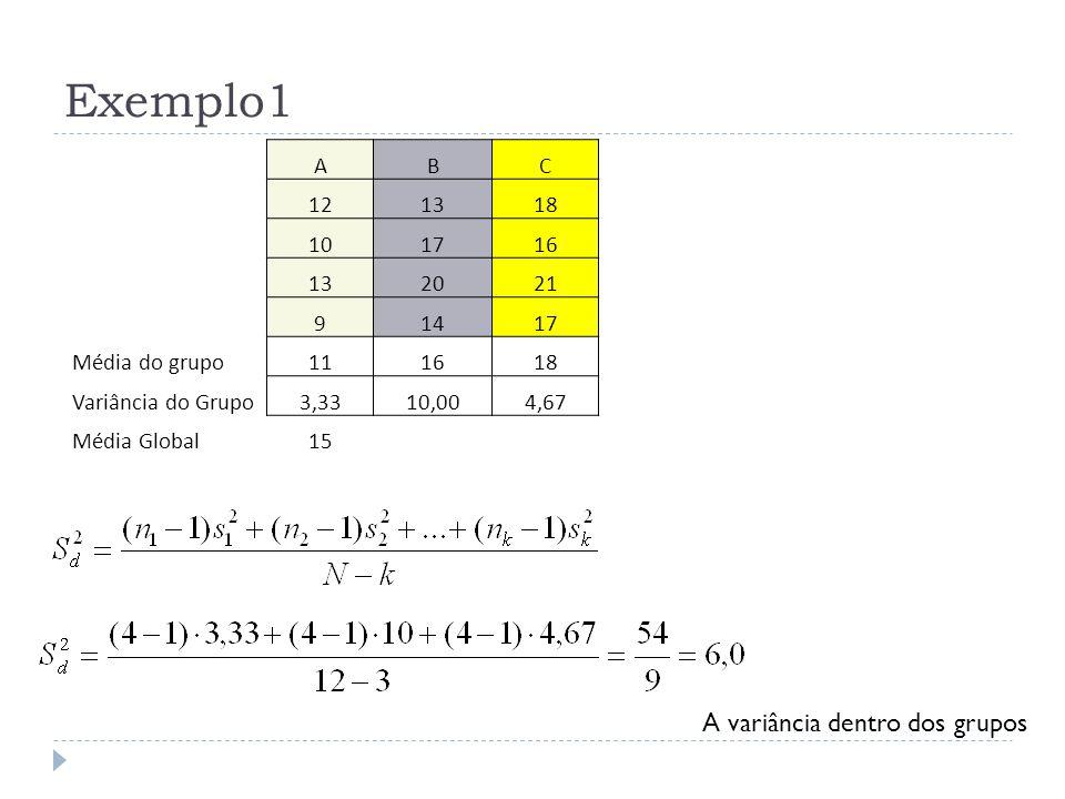 Exemplo1 A variância entre grupos Se reduzirmos a duas variâncias podemos aplicar o teste F.