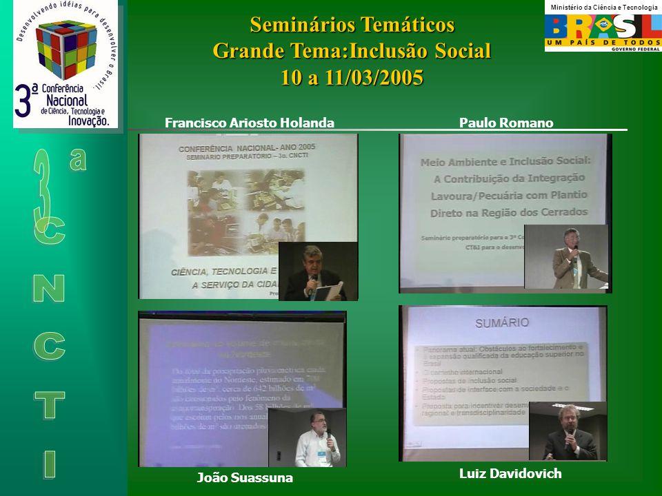 Seminários Temáticos Grande Tema:Inclusão Social 10 a 11/03/2005 Francisco Ariosto Holanda Paulo Romano João Suassuna Luiz Davidovich Ministério da Ciência e Tecnologia