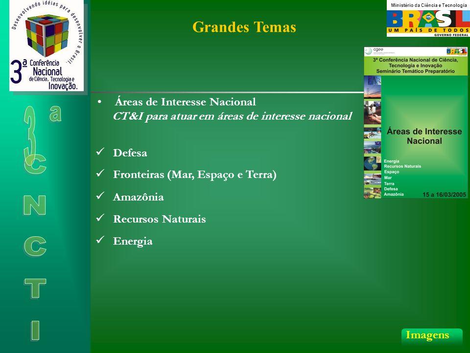 Grandes Temas Áreas de Interesse Nacional CT&I para atuar em áreas de interesse nacional Defesa Amazônia Recursos Naturais Energia Fronteiras (Mar, Espaço e Terra) Imagens Ministério da Ciência e Tecnologia