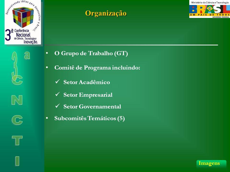 Organização Comitê de Programa incluindo: O Grupo de Trabalho (GT) Setor Acadêmico Setor Empresarial Setor Governamental Subcomitês Temáticos (5) Imagens Ministério da Ciência e Tecnologia