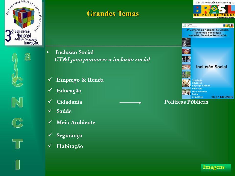 Grandes Temas Inclusão Social CT&I para promover a inclusão social Políticas Públicas Imagens Emprego & Renda Educação Saúde Meio Ambiente Segurança Cidadania Habitação Ministério da Ciência e Tecnologia
