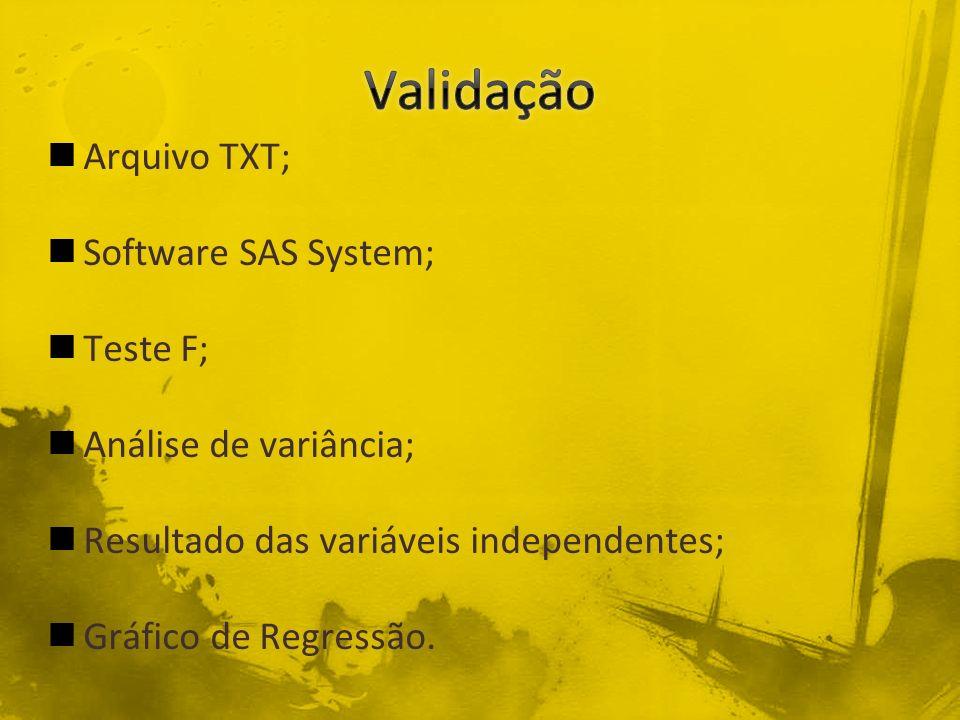Arquivo TXT; Software SAS System; Teste F; Análise de variância; Resultado das variáveis independentes; Gráfico de Regressão.
