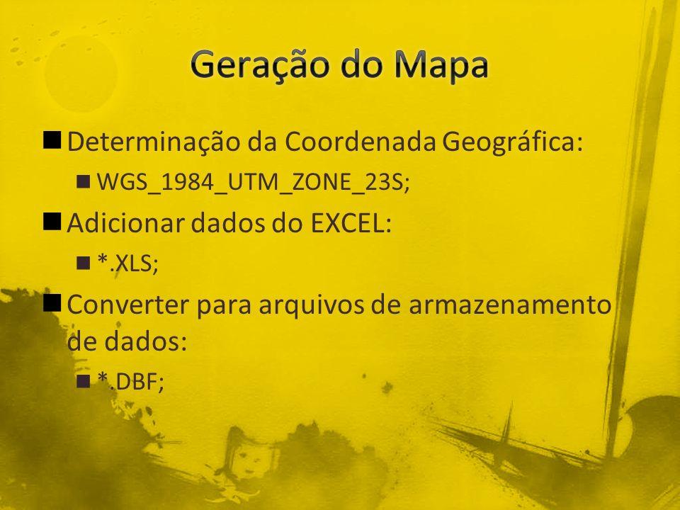 Determinação da Coordenada Geográfica: WGS_1984_UTM_ZONE_23S; Adicionar dados do EXCEL: *.XLS; Converter para arquivos de armazenamento de dados: *.DBF;