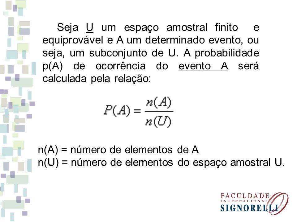 Seja U um espaço amostral finito e equiprovável e A um determinado evento, ou seja, um subconjunto de U. A probabilidade p(A) de ocorrência do evento