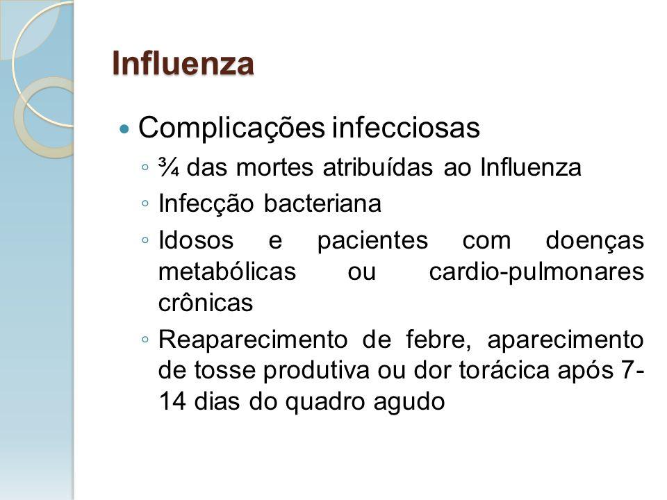 Complicações infecciosas ¾ das mortes atribuídas ao Influenza Infecção bacteriana Idosos e pacientes com doenças metabólicas ou cardio-pulmonares crôn