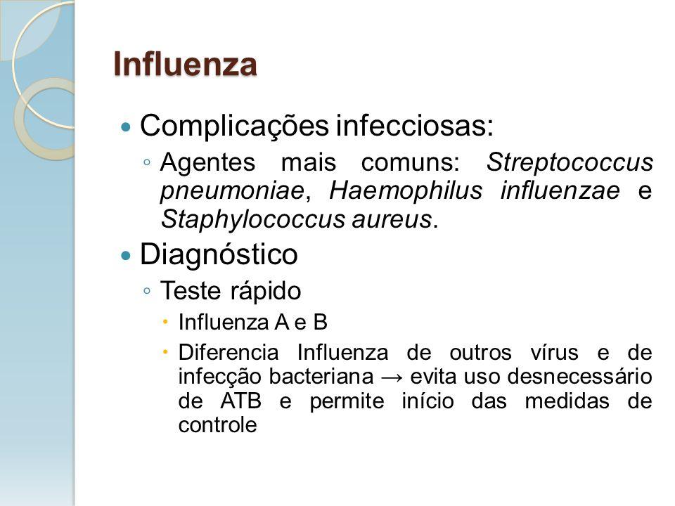 Complicações infecciosas: Agentes mais comuns: Streptococcus pneumoniae, Haemophilus influenzae e Staphylococcus aureus. Diagnóstico Teste rápido Infl