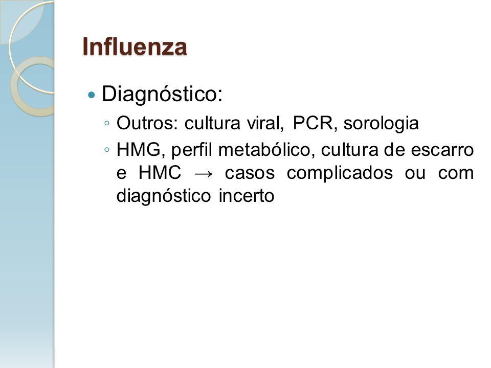 Diagnóstico: Outros: cultura viral, PCR, sorologia HMG, perfil metabólico, cultura de escarro e HMC casos complicados ou com diagnóstico incerto Influ