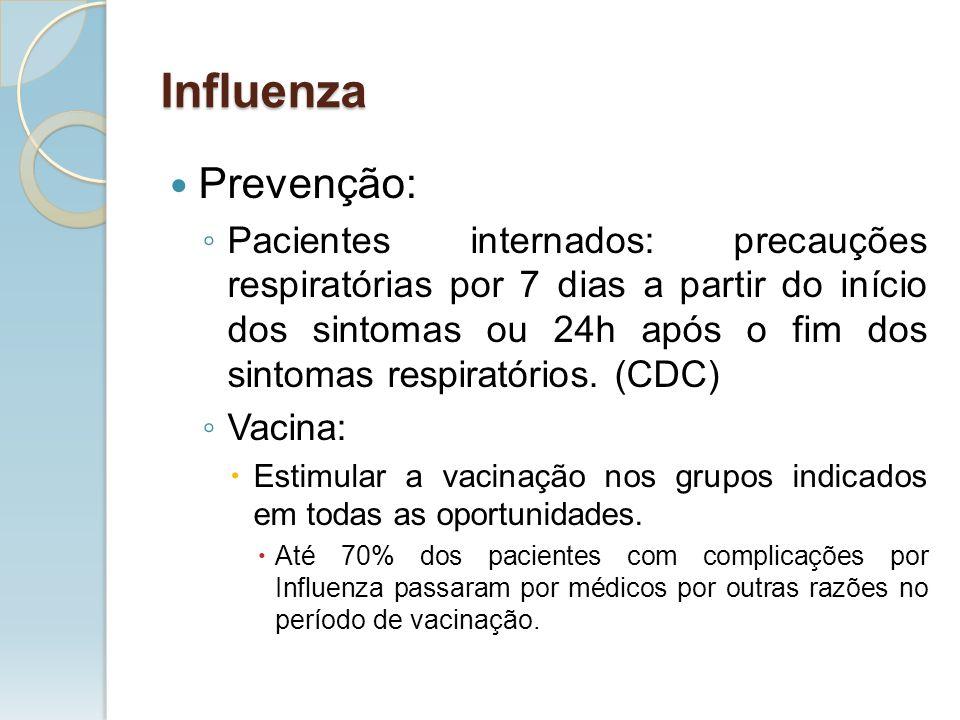 Prevenção: Pacientes internados: precauções respiratórias por 7 dias a partir do início dos sintomas ou 24h após o fim dos sintomas respiratórios. (CD