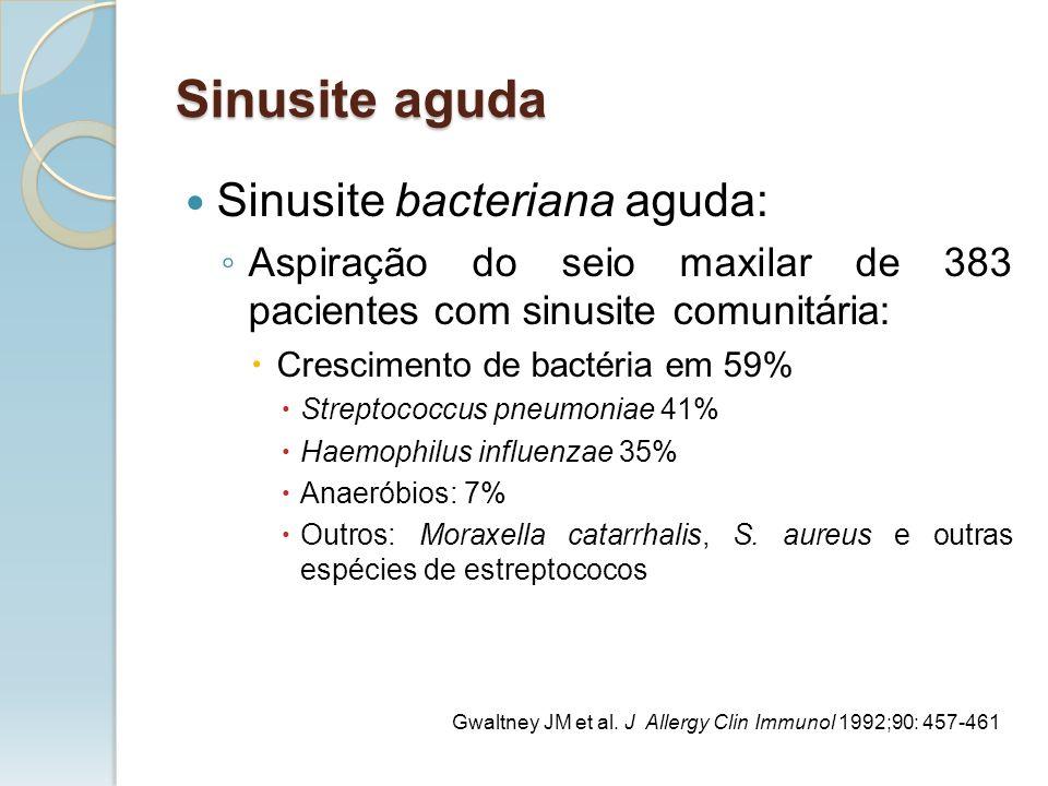 Sinusite bacteriana aguda: Aspiração do seio maxilar de 383 pacientes com sinusite comunitária: Crescimento de bactéria em 59% Streptococcus pneumonia