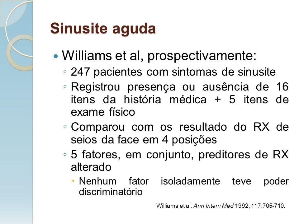 Williams et al, prospectivamente: 247 pacientes com sintomas de sinusite Registrou presença ou ausência de 16 itens da história médica + 5 itens de ex