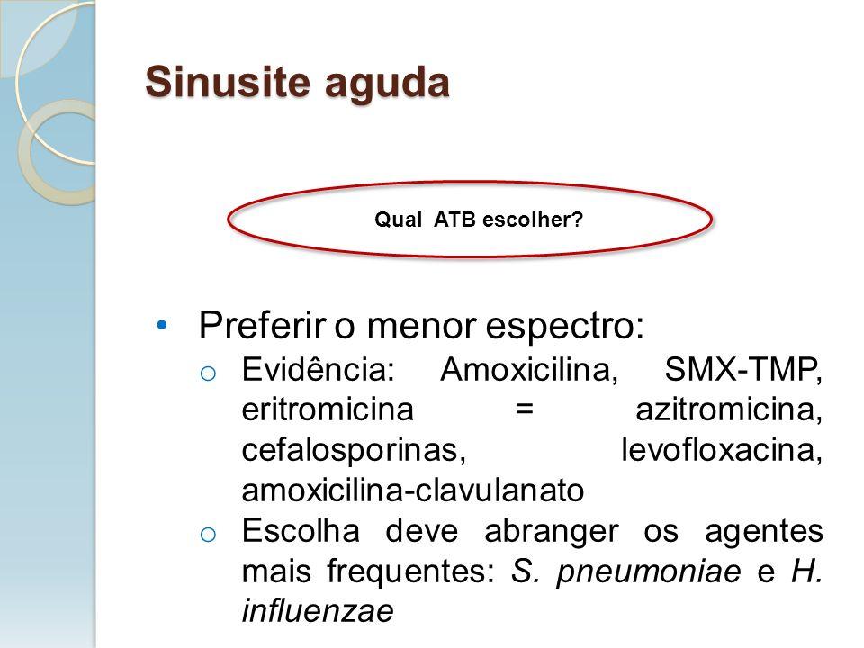 Qual ATB escolher? Preferir o menor espectro: o Evidência: Amoxicilina, SMX-TMP, eritromicina = azitromicina, cefalosporinas, levofloxacina, amoxicili