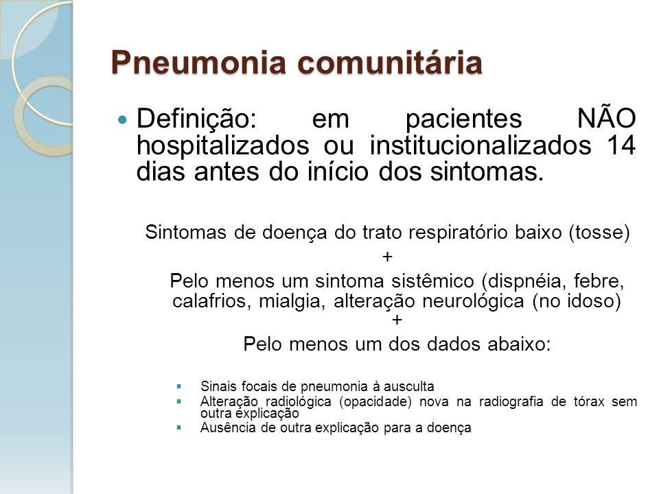Pneumonia comunitária Definição: em pacientes NÃO hospitalizados ou institucionalizados 14 dias antes do início dos sintomas. Sintomas de doença do tr