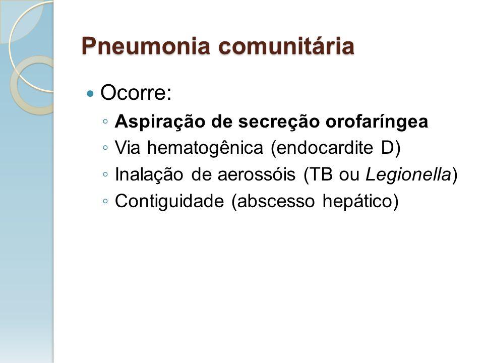 Ocorre: Aspiração de secreção orofaríngea Via hematogênica (endocardite D) Inalação de aerossóis (TB ou Legionella) Contiguidade (abscesso hepático) P