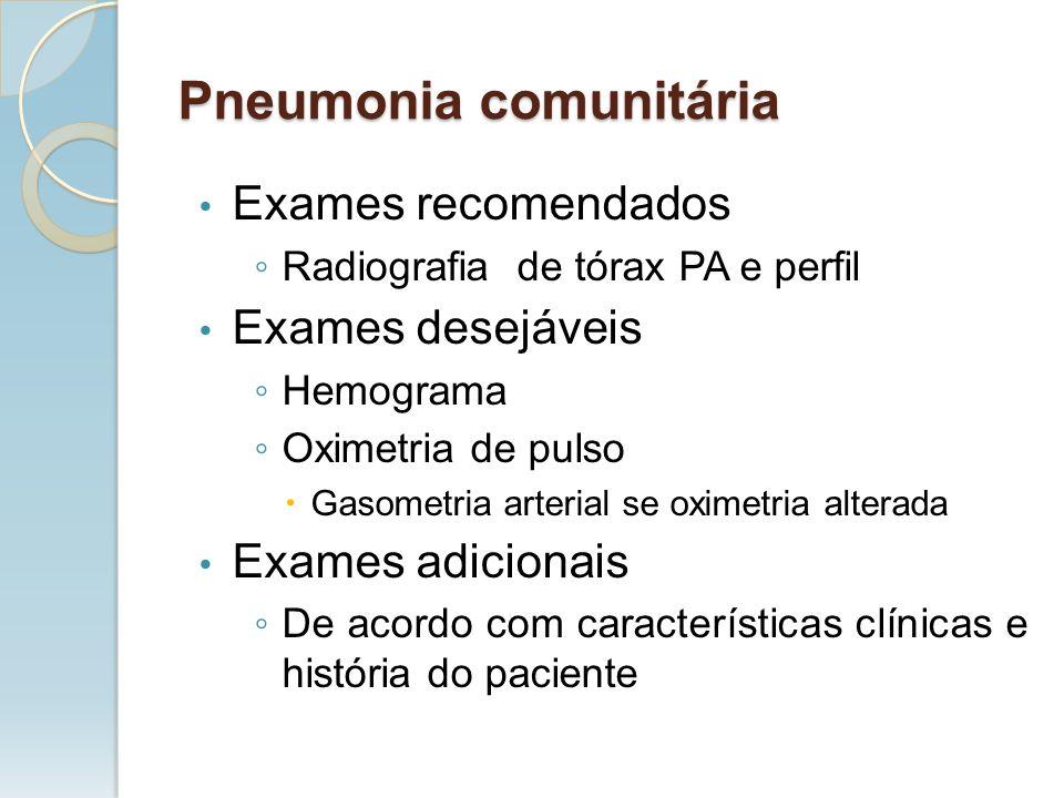Exames recomendados Radiografia de tórax PA e perfil Exames desejáveis Hemograma Oximetria de pulso Gasometria arterial se oximetria alterada Exames a