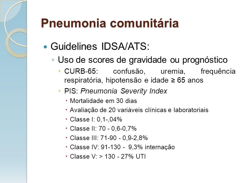 Guidelines IDSA/ATS: Uso de scores de gravidade ou prognóstico CURB-65: confusão, uremia, frequência respiratória, hipotensão e idade 65 anos PIS: Pne