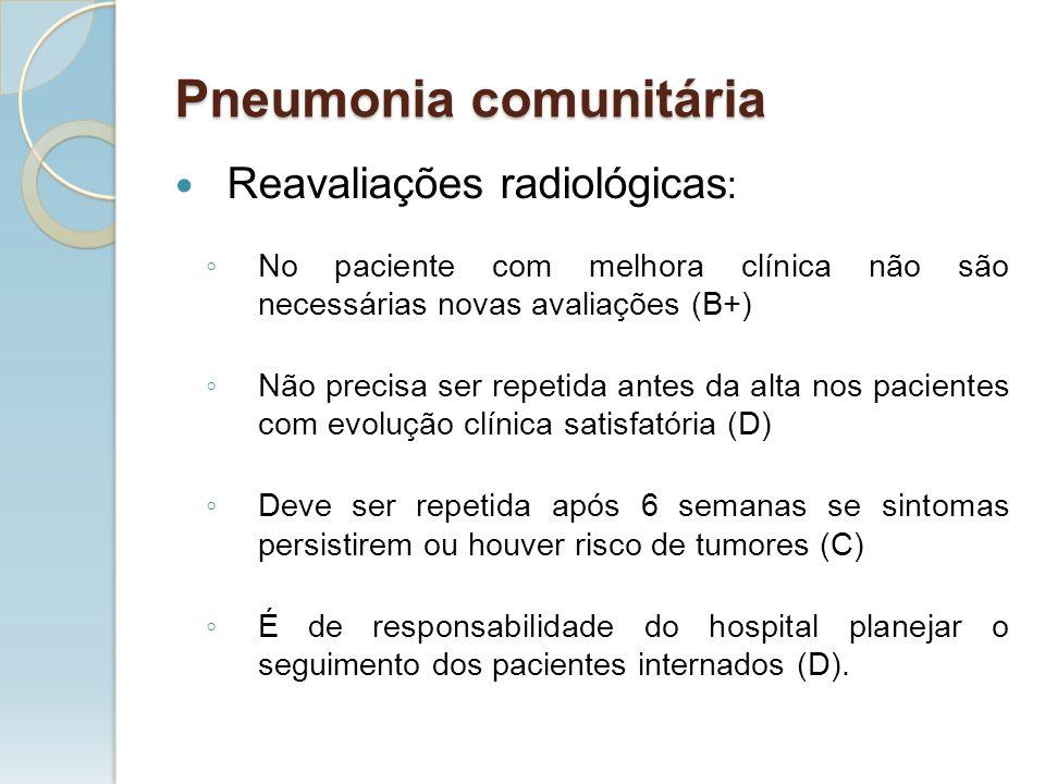 Reavaliações radiológicas : No paciente com melhora clínica não são necessárias novas avaliações (B+) Não precisa ser repetida antes da alta nos pacie