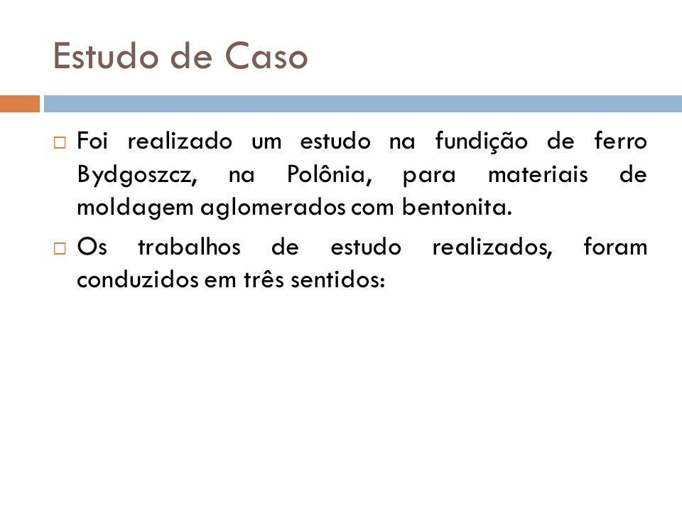 Estudo de Caso Foi realizado um estudo na fundição de ferro Bydgoszcz, na Polônia, para materiais de moldagem aglomerados com bentonita. Os trabalhos