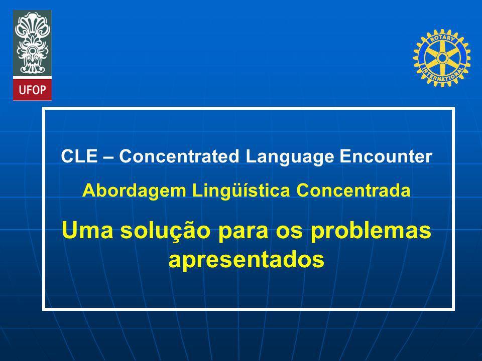 CLE – Concentrated Language Encounter Abordagem Lingüística Concentrada Uma solução para os problemas apresentados