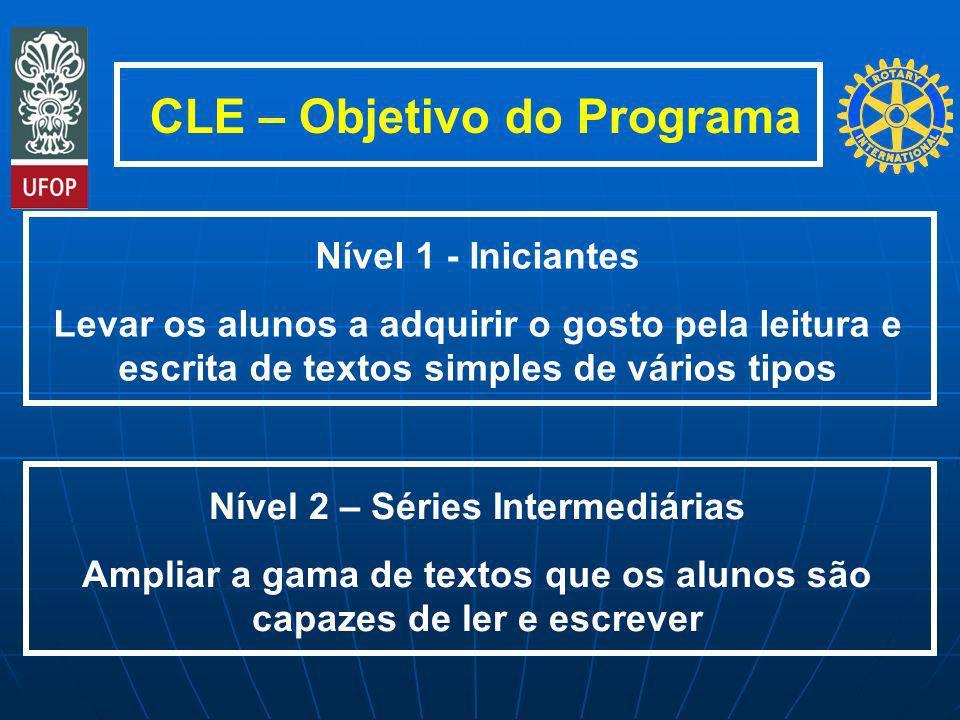 CLE – Objetivo do Programa Nível 1 - Iniciantes Levar os alunos a adquirir o gosto pela leitura e escrita de textos simples de vários tipos Nível 2 –