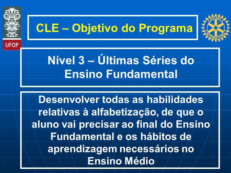 CLE – Objetivo do Programa Desenvolver todas as habilidades relativas à alfabetização, de que o aluno vai precisar ao final do Ensino Fundamental e os