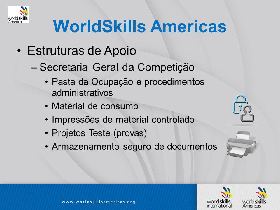 WorldSkills Americas Estruturas de Apoio –Secretaria Geral da Competição Pasta da Ocupação e procedimentos administrativos Material de consumo Impressões de material controlado Projetos Teste (provas) Armazenamento seguro de documentos