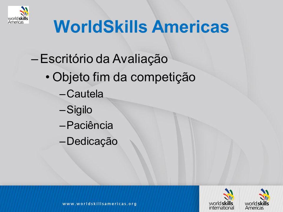 WorldSkills Americas –Escritório da Avaliação Objeto fim da competição –Cautela –Sigilo –Paciência –Dedicação