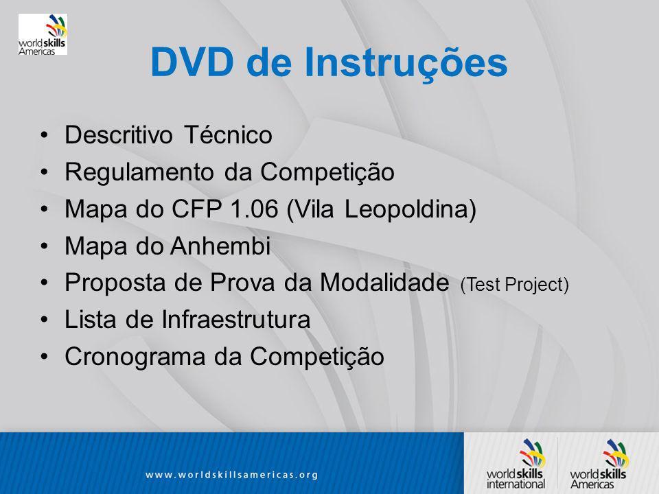 DVD de Instruções Descritivo Técnico Regulamento da Competição Mapa do CFP 1.06 (Vila Leopoldina) Mapa do Anhembi Proposta de Prova da Modalidade (Test Project) Lista de Infraestrutura Cronograma da Competição