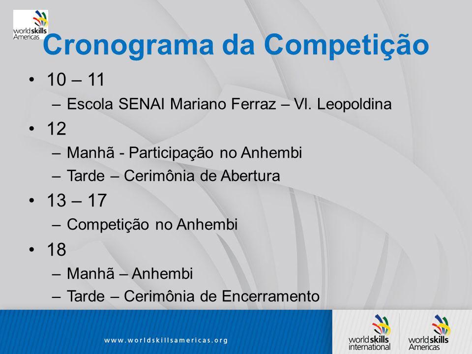 Cronograma da Competição 10 – 11 –Escola SENAI Mariano Ferraz – Vl.