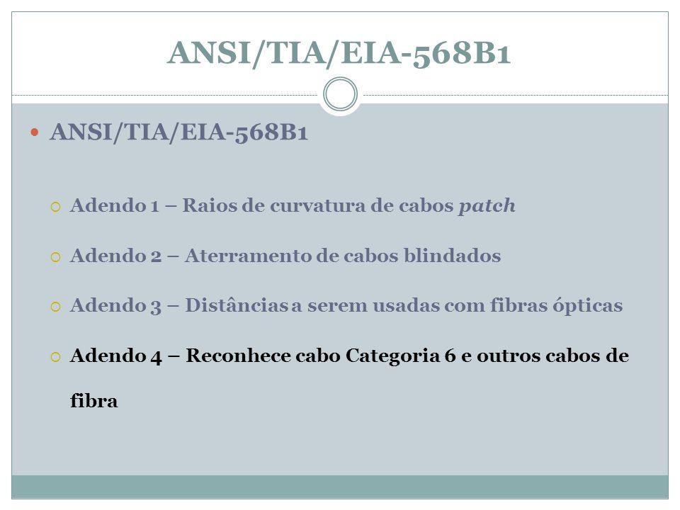 ANSI/TIA/EIA-568B1 Adendo 1 – Raios de curvatura de cabos patch Adendo 2 – Aterramento de cabos blindados Adendo 3 – Distâncias a serem usadas com fib