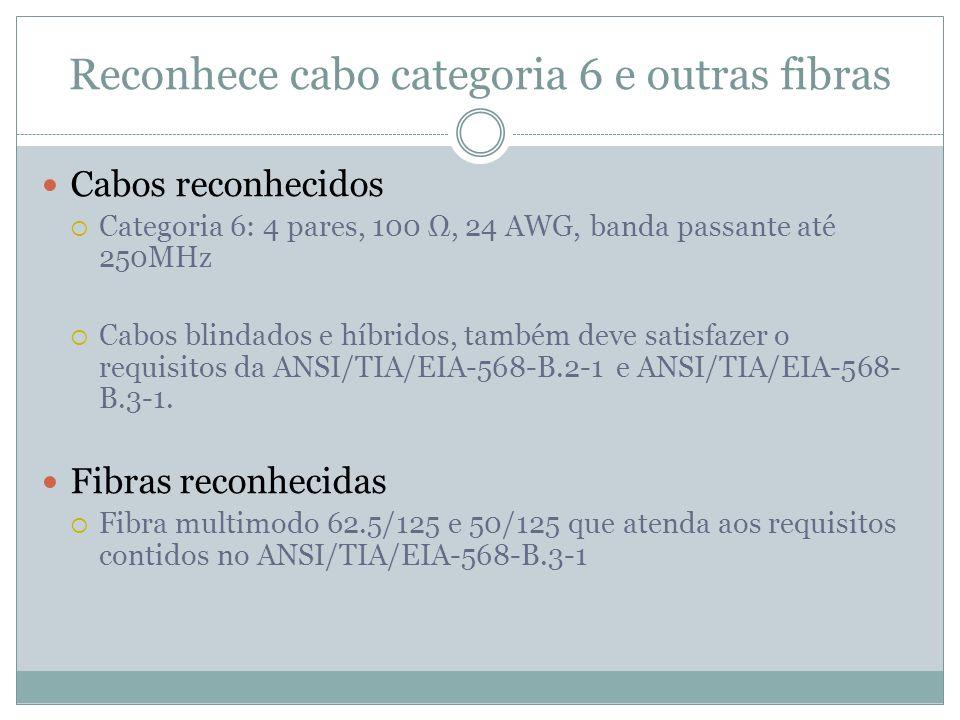 Reconhece cabo categoria 6 e outras fibras Cabos reconhecidos Categoria 6: 4 pares, 100, 24 AWG, banda passante até 250MHz Cabos blindados e híbridos,