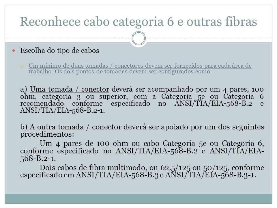 Reconhece cabo categoria 6 e outras fibras Escolha do tipo de cabos U m mínimo de duas tomadas / conectores devem ser fornecidos para cada área de tra