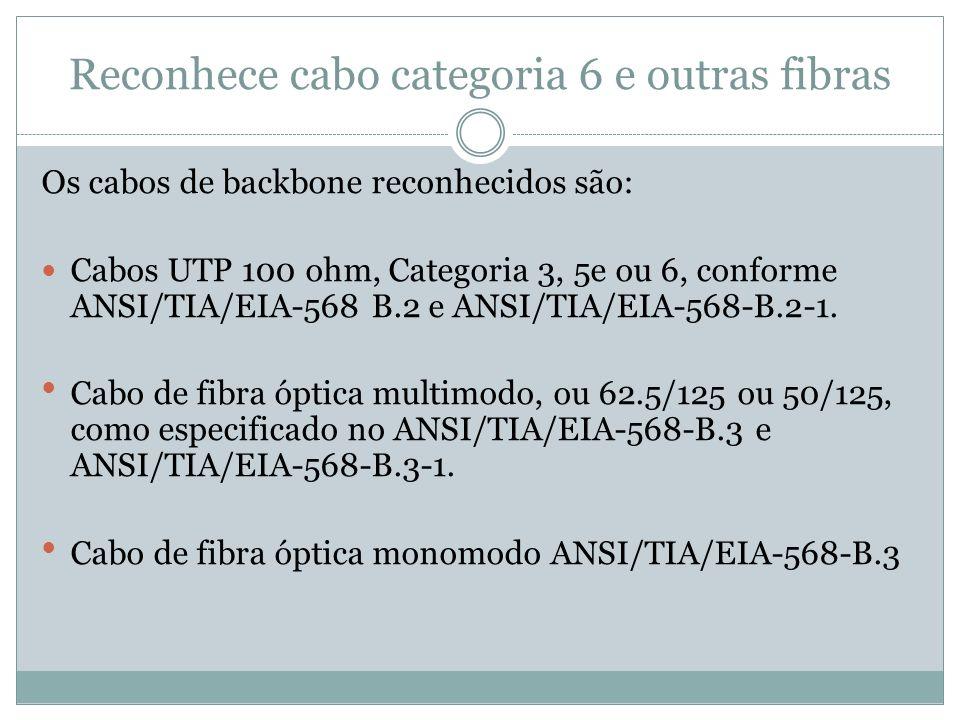 Reconhece cabo categoria 6 e outras fibras Os cabos de backbone reconhecidos são: Cabos UTP 100 ohm, Categoria 3, 5e ou 6, conforme ANSI/TIA/EIA-568 B