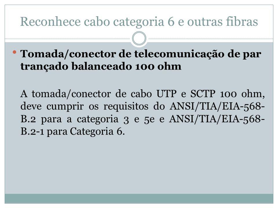 Reconhece cabo categoria 6 e outras fibras Tomada/conector de telecomunicação de par trançado balanceado 100 ohm A tomada/conector de cabo UTP e SCTP