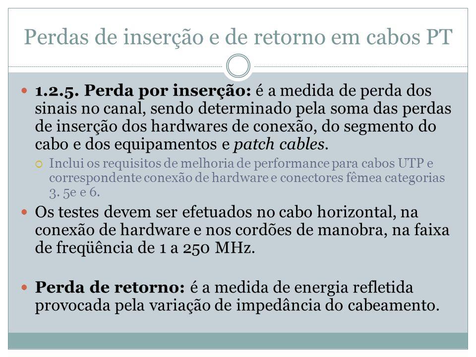 Perdas de inserção e de retorno em cabos PT 1.2.5. Perda por inserção: é a medida de perda dos sinais no canal, sendo determinado pela soma das perdas
