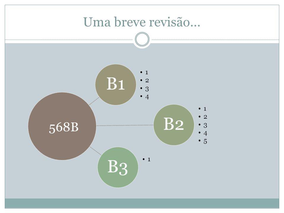 Uma breve revisão… B1 1 2 3 4 B2 1 2 3 4 5 B3 1 568B