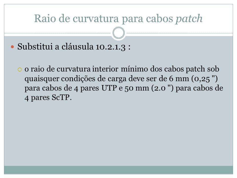 Raio de curvatura para cabos patch Substitui a cláusula 10.2.1.3 : o raio de curvatura interior mínimo dos cabos patch sob quaisquer condições de carg