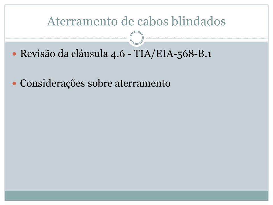 Aterramento de cabos blindados Revisão da cláusula 4.6 - TIA/EIA-568-B.1 Considerações sobre aterramento