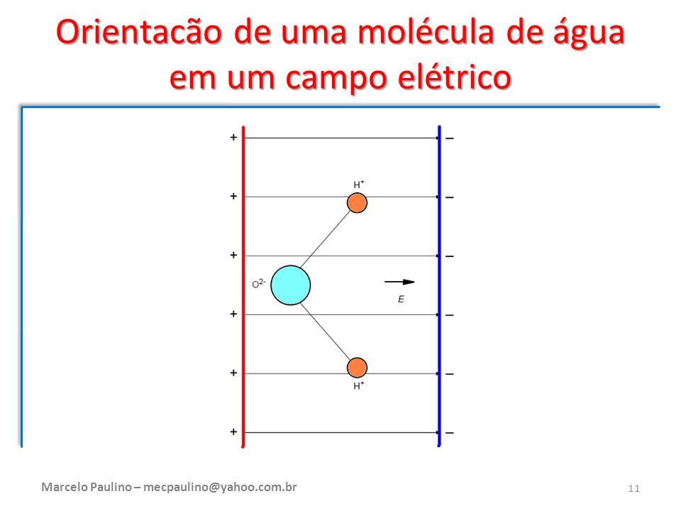 Orientacão de uma molécula de água em um campo elétrico Marcelo Paulino – mecpaulino@yahoo.com.br 11