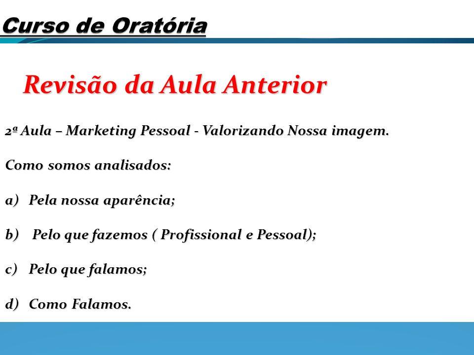 Revisão da Aula Anterior 2ª Aula – Marketing Pessoal - Valorizando Nossa imagem. Como somos analisados: a)Pela nossa aparência; b) Pelo que fazemos (
