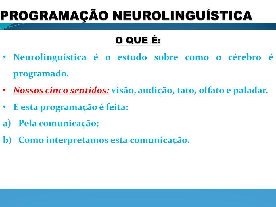 O QUE É: Neurolinguística é o estudo sobre como o cérebro é programado. Nossos cinco sentidos: visão, audição, tato, olfato e paladar. E esta programa