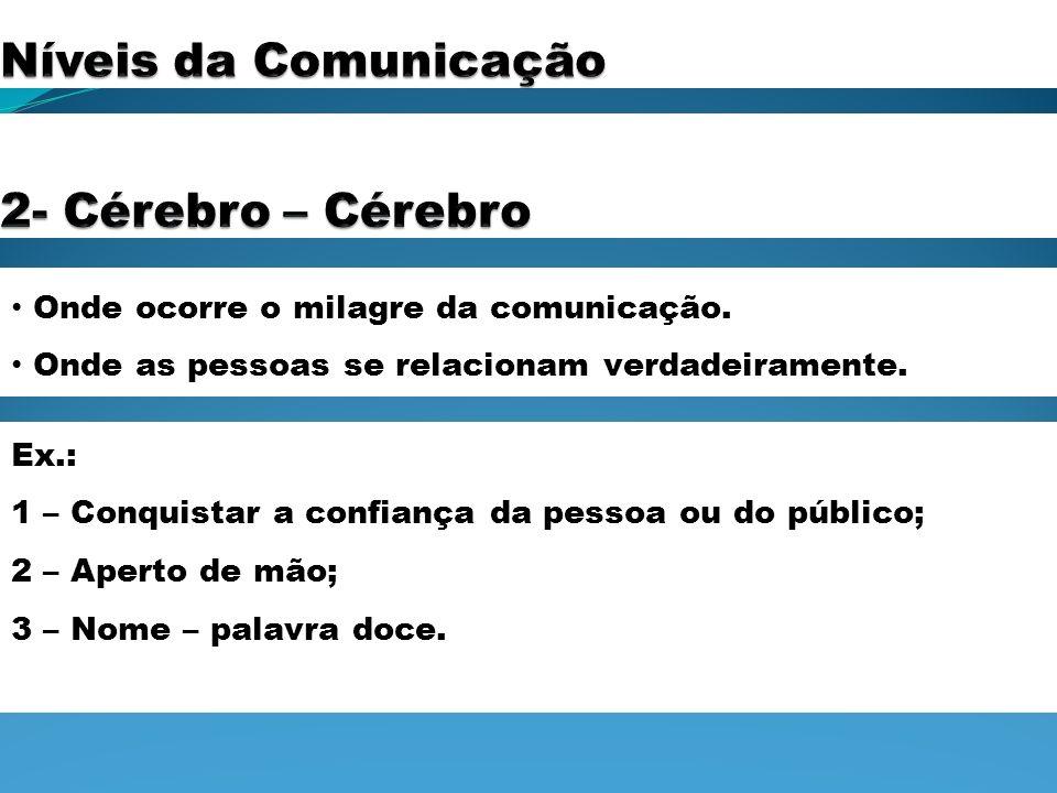 Onde ocorre o milagre da comunicação. Onde as pessoas se relacionam verdadeiramente. Ex.: 1 – Conquistar a confiança da pessoa ou do público; 2 – Aper
