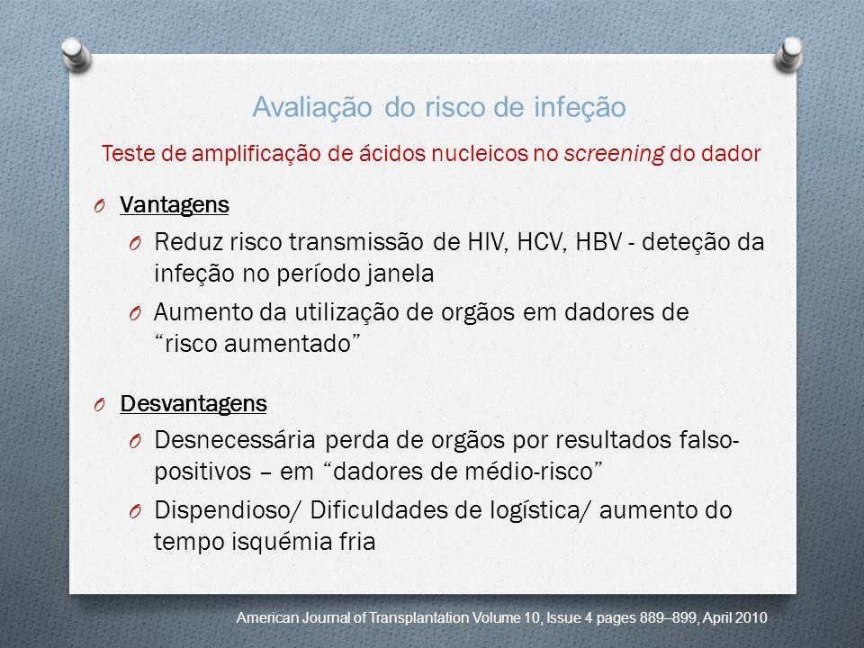 Teste de amplificação de ácidos nucleicos no screening do dador O Vantagens O Reduz risco transmissão de HIV, HCV, HBV - deteção da infeção no período