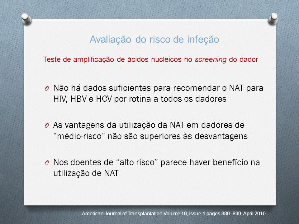 O Não há dados suficientes para recomendar o NAT para HIV, HBV e HCV por rotina a todos os dadores O As vantagens da utilização da NAT em dadores de m