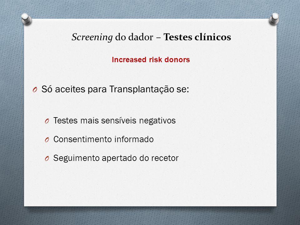 O Só aceites para Transplantação se: O Testes mais sensíveis negativos O Consentimento informado O Seguimento apertado do recetor Increased risk donor
